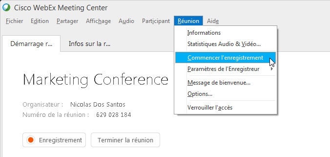 enregistrement webex